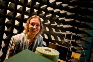 This is E. Semouchkina's photo, where she is testing a microwave dielectric cloak in an anechoic chamber.