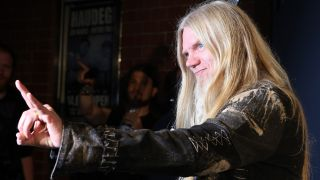 A photograph of Nightwish bass player Marco Hietala