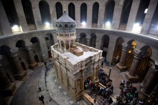 The tomb of Jesus Christ with the rotunda is seen in the Church of the Holy Sepulchre on March 21, 2017, in Jerusalem, Israel.