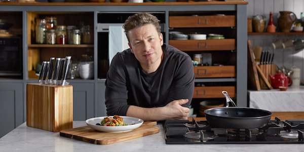 Jamie Oliver on his cooking television show Jamie's Quick and Easy Food