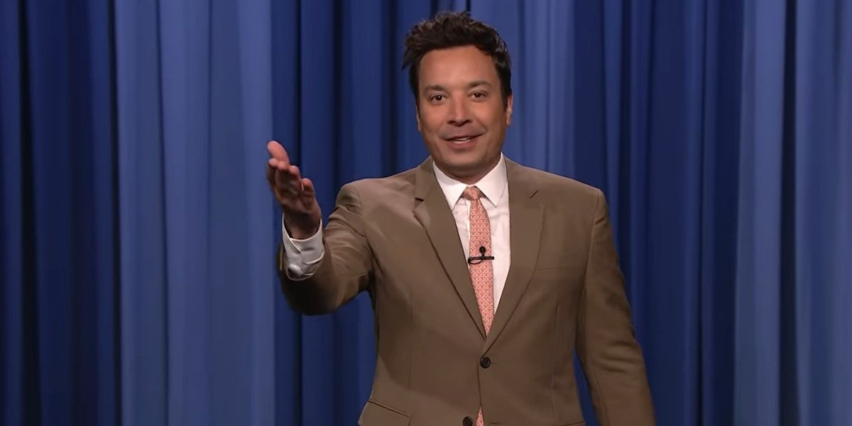 Jimmy Fallon being excited over his first live audience on The Tonight Show