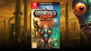 The new box art for the Oddworld Collection with Abe's large face looming in the corner