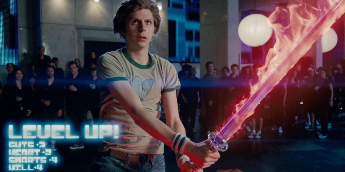 Michael Cera in Scott Pilgrim vs the World flaming sword end scene