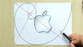 Logo Design - A drawing of the Apple logo being compared to the Fibonacci sequence.