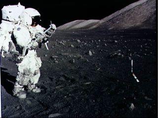 Harrison Schmitt Collects Lunar Rake Samples
