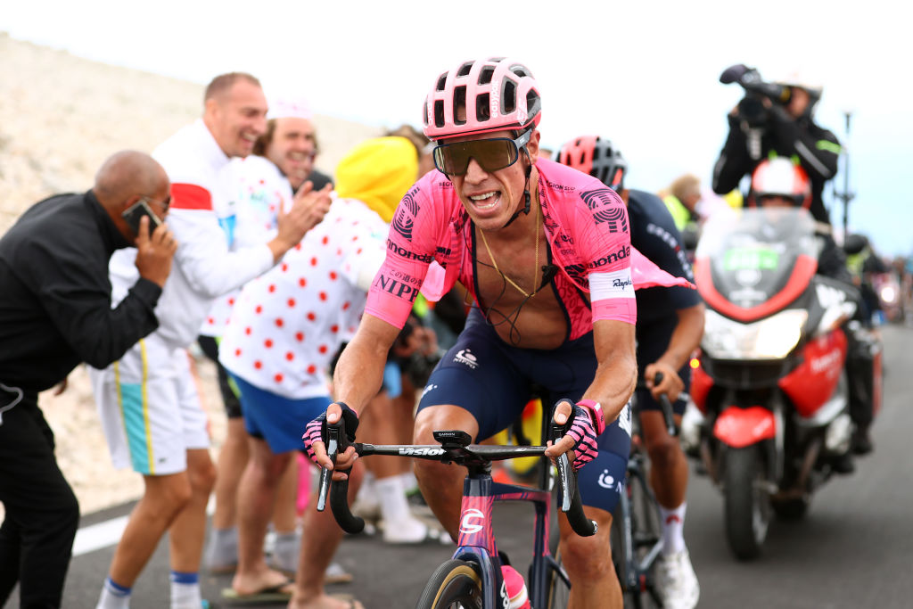 MALAUCENE FRANCE JULY 07 Rigoberto Urn of Colombia and Team EF Education Nippo during the 108th Tour de France 2021 Stage 11 a 1989km km stage from Sorgues to Malaucne Mont Ventoux 1910m Public Fans LeTour TDF2021 on July 07 2021 in Malaucene France Photo by Michael SteeleGetty Images