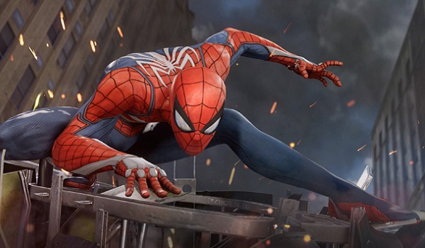Spider-Man showing off his Insomniac suit