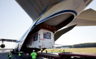Orbital Sciences Corp.'s first Cygnus cargo carrier pressurized module arrives at NASA's Wallops Flight Facility on Aug. 23, 2011.