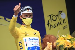 Julian Alaphilippe (Deceuninck-Quickstep) in the maillot jaune after winning stage 1 of the 2021 Tour de France