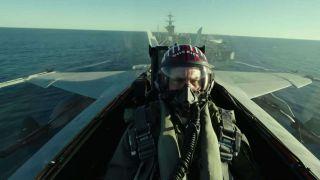 Tom Cruise flying in Top Gun: Maverick