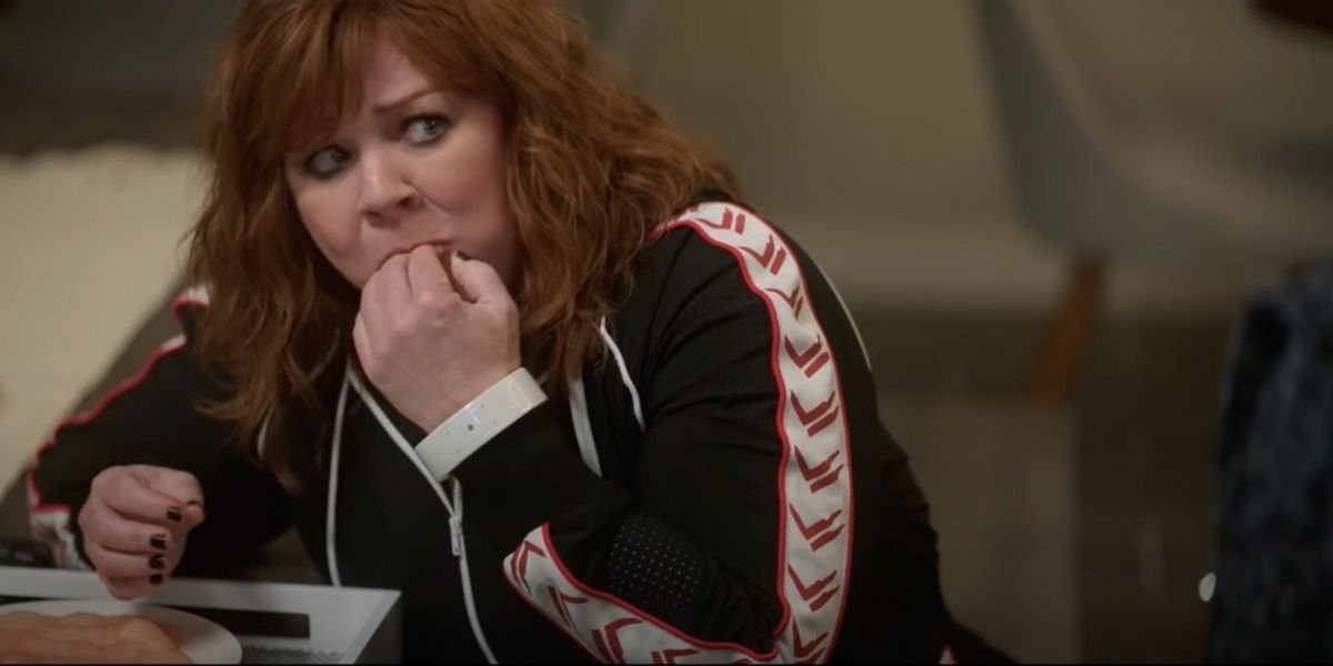 Melissa McCarthy eating raw chicken in Thunder Force