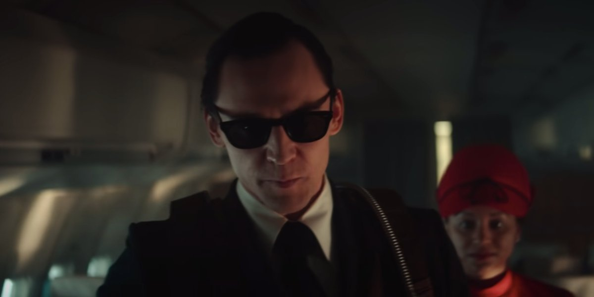 Tom Hiddleston in his D.B. Cooper disguise in Loki.