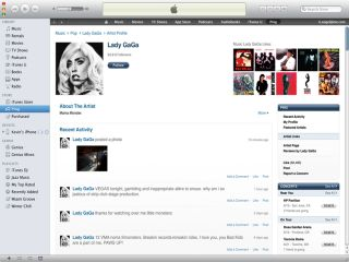 Lady GaGa's Ping profile on iTunes 10