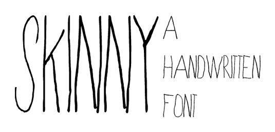 Free handwriting fonts: Skinny