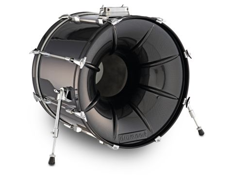 Drumport's 20cm circular hole is sited at the centre and aligns with the bass drum beater.
