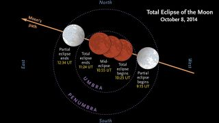 Stages of the Lunar Eclipse on October 8, 2014