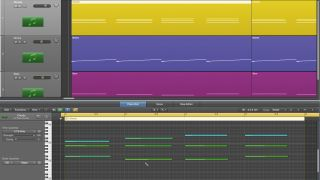 Using the Scissors tool in any DAW you can cut holes into the top line of your chord progression and fill in the gaps between note steps