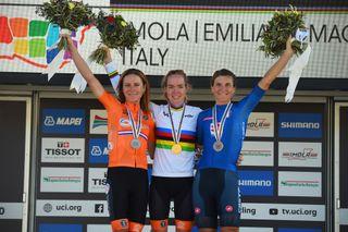 Road World Championships Imola 2020 - Women Elite Road Race - Imola - Imola 143 km - 26/09/2020 -Annemiek Van Vleuten (NED) - Anna Van Der Breggen (NED) - Elisa Longo Borghini (ITA) - photo Dario Belingheri/BettiniPhoto©2020