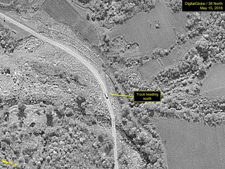 A large truck was observed on the access road between the Guard Barracks and Southern Support Area on May 15, 2018, at the Punggye-ri site in North Korea.