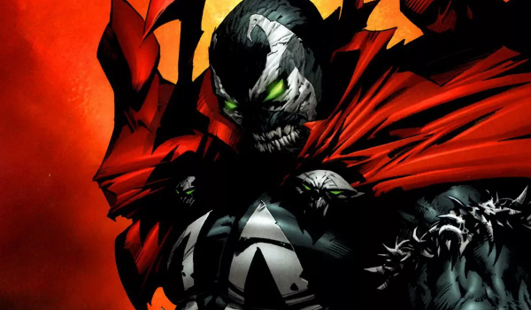 Spawn stands jacked with a grim face of anger