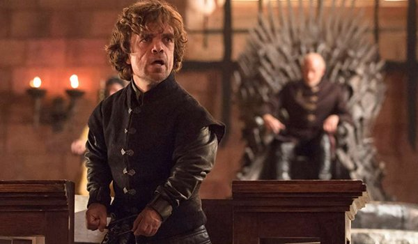 Tyrion LAnnister and Tywin Lannister In The Laws Of Gods And Men on HBO's Game Of Thrones