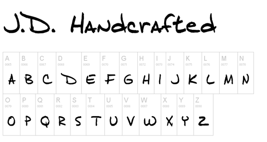 Free handwriting fonts: J.D Handcrafted