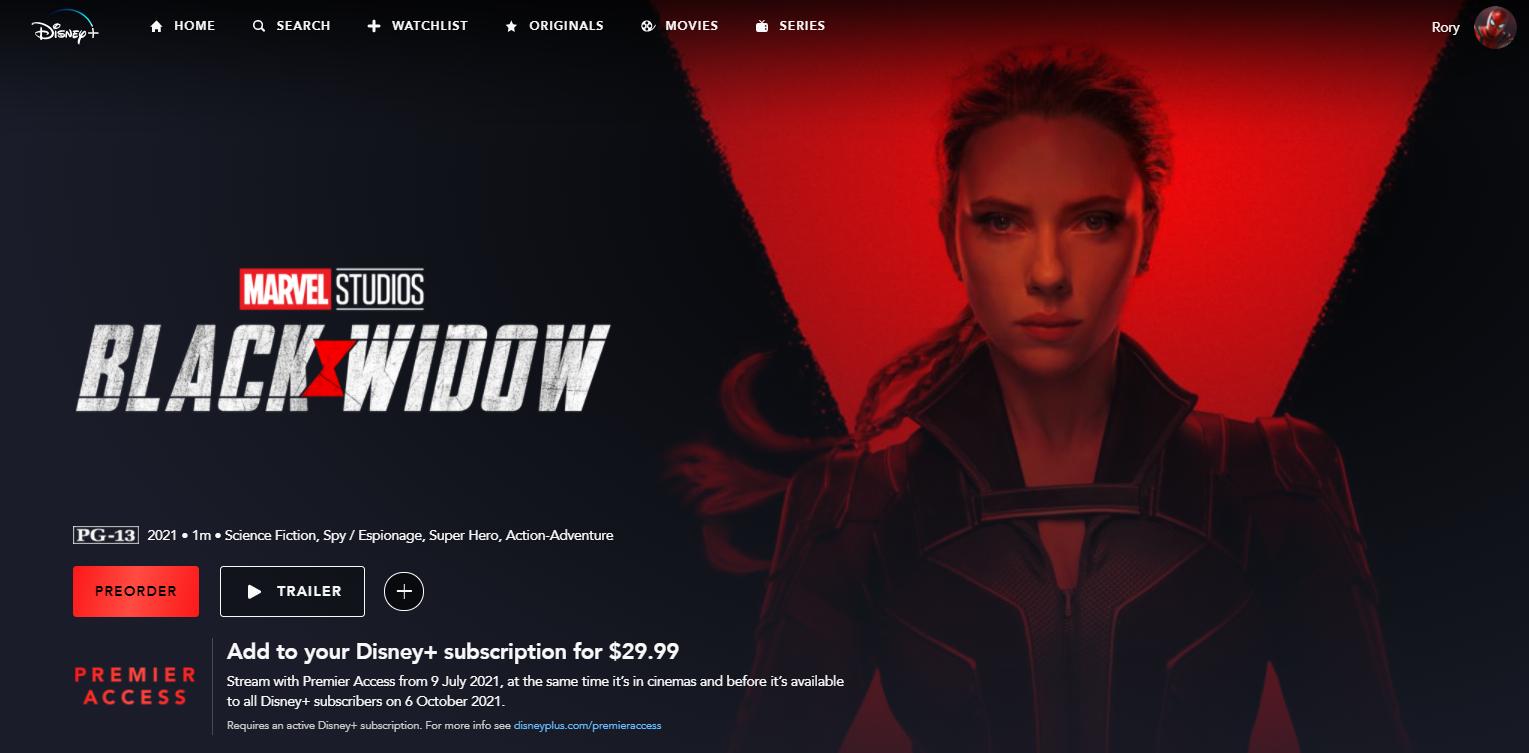 pre-order black window on Disney Plus - click preorder button