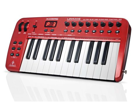 The UMA25S can be strapped on for Keytar-style playing.
