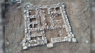 An aerial view of the fortress discovered in central Israel. Notice the rooms that lined its sides.