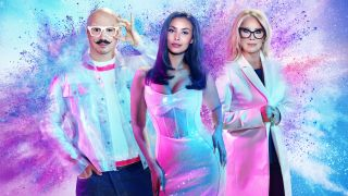 Glow Up Season 3: a stylised picture of Dominic Skinner, Maya Jama and Val Garland as an explosion of multi-coloured powder erupts behind them