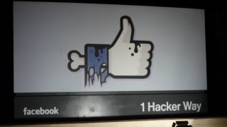 Facebook HQ sign Halloween