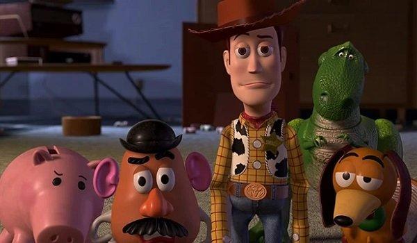 Toy Story 2 Hamm Mr. Potato Head Woody Rex and Slinky look unimpressed