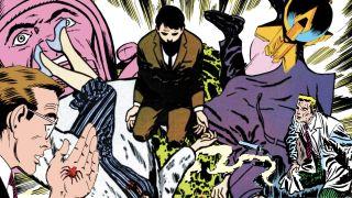 collage of origins of Batman, Superman, Spider-Man, Flash, and Fantastic Four