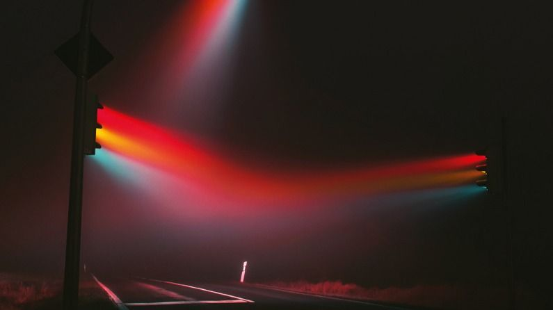 traffic lights and fog combine to make amazing images