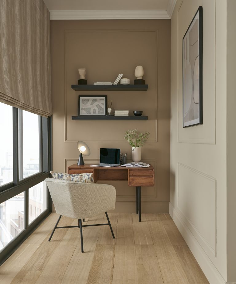 Brown and beige home office idea by ILIV