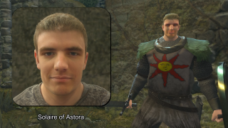 Solaire with an AI face.