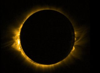 This view of the total solar eclipse of March 20, 2015 was captured from space by the European Space Agency's Proba-2 satellite, which was expected to see the eclipse twice as it orbited Earth.