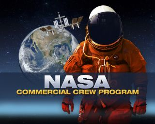 NASA's commercial crew program with an astronaut in the foreground and the space station in the background