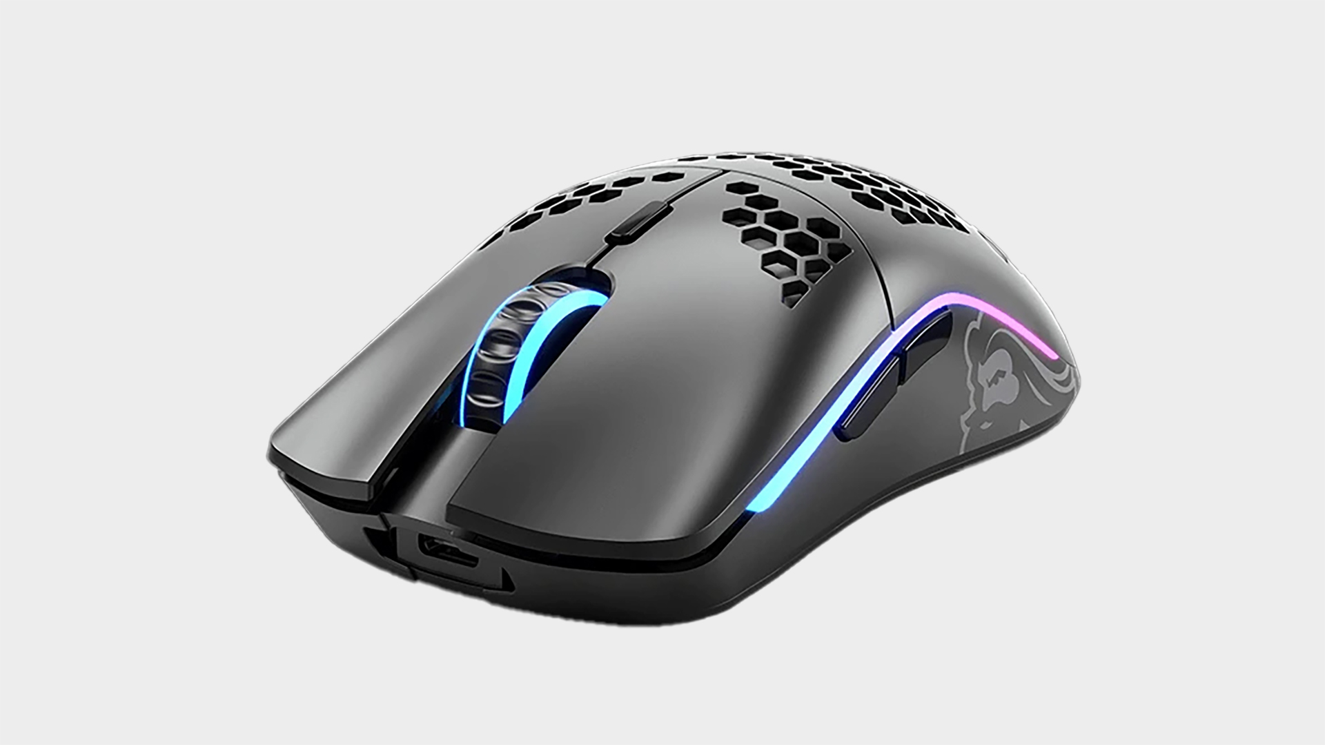 Glorious Model O gaming mouse on grey background