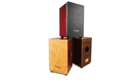 The Cherry Red hybrid cajon's (top) semi-transparent body allows a glimpse of the innards