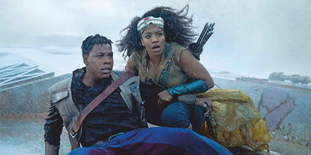 John Boyega and Naomi Ackie as Finn and Jannah in