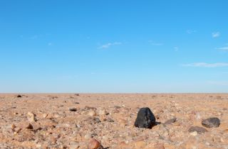 The black fragment of Almahata Sitta meteorite number 15 shows up black against the lighter colored rocks of the Nubian desert in northern Sudan.