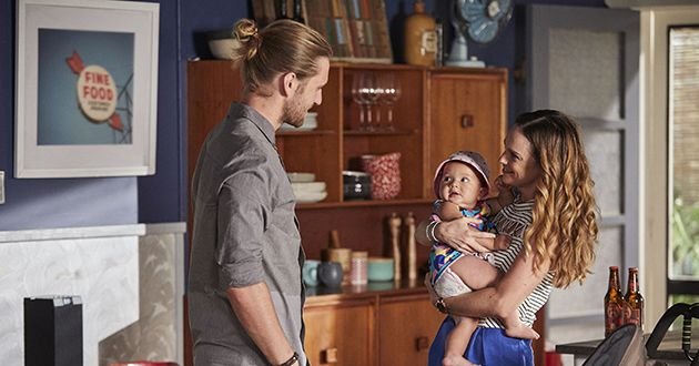 Ash Ashford is impressed by how good Tori Morgan is with baby Luc in Home And Away.