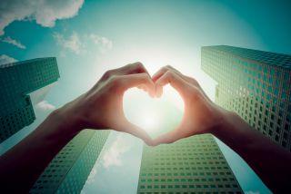 heart, city, cityscape