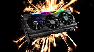 EVGA RTX 3090 FTW3 in front of a sparkler