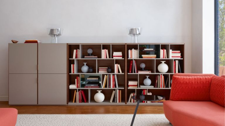 living room with large bookcase and sofa with living coral shade by ligne roset