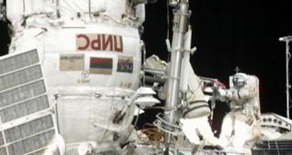 Spacewalking Cosmonauts Upgrade International Space Station
