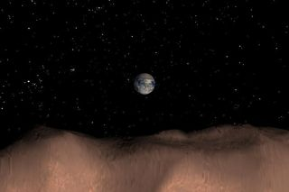 Computer-generated image depicting a view of Earth as seen from the surface of the asteroid Toutatis.