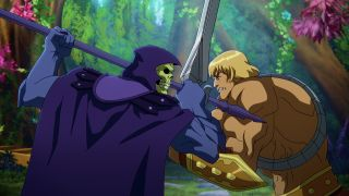 He-Man (Chris Wood) and Skeletor (Mark Hamill) fight in Masters of the Universe: Revelation on Netflix