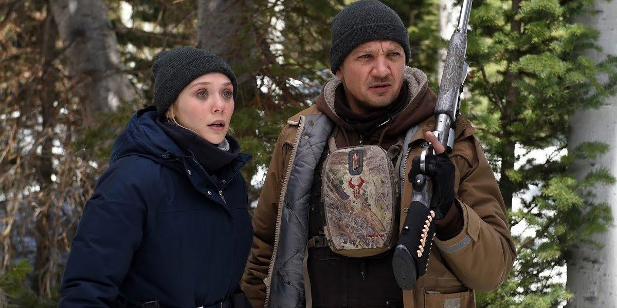 Elizabeth Olsen with Jeremy Renner in Wind River.